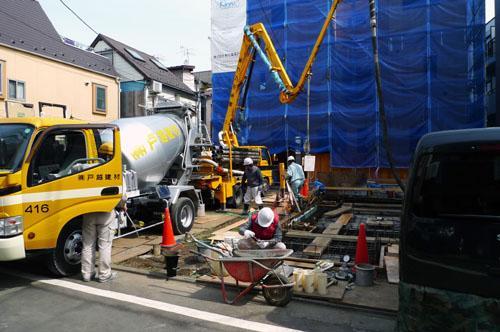武蔵小山の住宅 基礎コンクリート打設